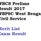 WBCS 2017 Result Prelims West Bengal Civil Service Merit List