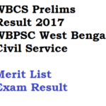 WBCS 2017 Result Prelims West Bengal Civil Service Merit List