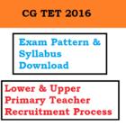 CG TET Exam Syllabus Pattern Primary Teacher Recruitment Process