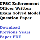 UPSC EPFO Enforcement Officer Previous Years Model Question Paper