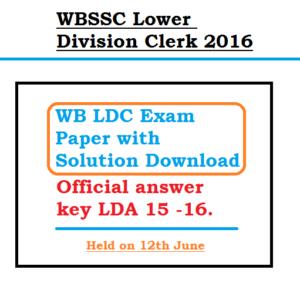 wbssc ldc exam paper answer key download