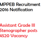 MPPEB Assistant Gr III Steno DEO Recruitment 2016 Vacancy 4041 Posts