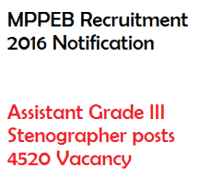 mppeb recruitment notification 2016 vacancy mpvyapam assistant stenographer 4520 vacancy grade III