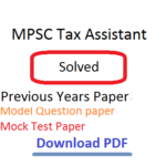 MPSC Tax Assistant Previous Years Question Paper Download PDF Model