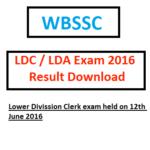 WBSSC LDC 2016 Exam Result LDA 15 16 Check Online