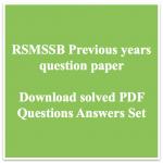 RSMSSB Previous Question Paper Download Solved PDF Informatics Asst
