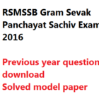 RSMSSB Gram Sevak Previous Year Model Question Paper Download Rajasthan