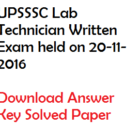 UPSSSC Laboratory Technician Solved Paper 2016 Download Answer Key