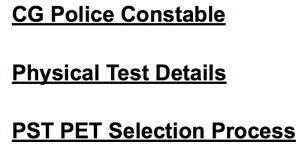 cg police constable recruitment 2018 physical exam eligibility test efficiency test criteria minimum standard requirement pet pst details chhattisgarh police run race medical standard selection prcoess