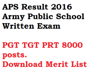 aps result 2016 army public school written exam merit list tgt pgt prt teacher test