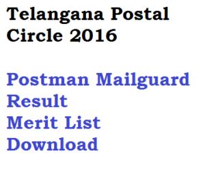 telangana postal circle postman mailguard result 2016 download merit list pdf held on 11 december