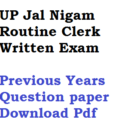 UPJN Routine Clerk Previous Years Model Question Paper Download PDF
