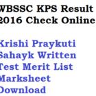 WBSSC KPS Result 2016 Check Online Krishi Prayukti Sahayak Merit List