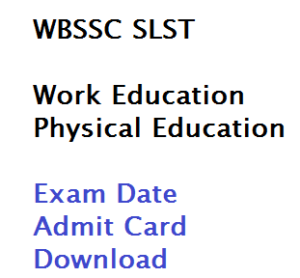 wbssc school service commission work physical education slst exam date admit card download 1st