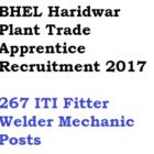 BHEL Haridwar Trade Apprentice Recruitment 2017 ITI 267 Posts