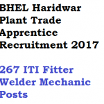 BHEL Haridwar Trade Apprentice Recruitment 2017 ITI 267 Posts