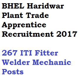 bhel haridwar plant trade apprentice recruitment 2017 iti fitter mechanic machinist vacancy posts