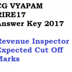 CG Vyapam RIRE 2017 Answer Key Revenue Inspector Exam Cut Off