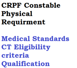 crpf constable technical tradesman eligibility criteria qualification educational technical physical medical requirment minimum height weight chest eyesight