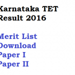 Karnataka TET 2016 Exam Result Merit List KARTET 15th Jan 2017