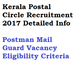 kerala postal circle recruitment 2017 jobs postman mail guard post offices keralapost indiapost eligibility criteria