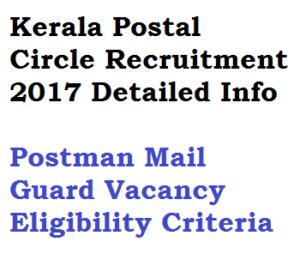 kerala postal circle recruitment 2017 jobs postman mail guard post offices keralapost indiapost eligibility criteria