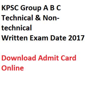 kpsc group a b c abc karnataka psc admit card download 2017 exam date test cbrt computer based online 2016