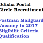 Odisha Postal Circle Recruitment 2017 Postman 96 Vacancy Eligibility