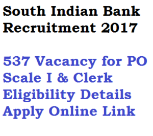 south indian bank recruitment 2017 apply online po clerk probationary officer scale i eligibility qualification monthly salary