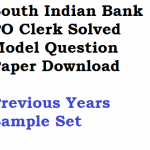 South Indian Bank Previous Years Model Question Paper PO Clerk
