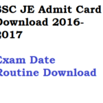 SSC JE Admit Card 2016 Paper I Exam Date 2017 Junior Engineer CBT