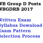 WB Group D Written Exam Syllabus Selection Process WBGDRB