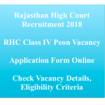 Rajasthan High Court Peon Recruitment 2018 Driver Vacancy Class IV