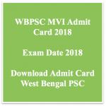 WBPSC MVI Admit Card 2018 Motor Vehicle Inspector Exam Date