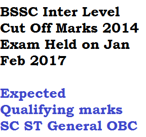 bssc inter level cut off marks qualifying score bihar staff selection commission ssc 2014 2017