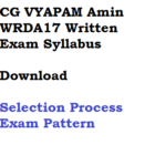 CG Vyapam Amin Syllabus WRDA17 Exam Pattern Selection Process