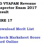 CG Vyapam Revenue Inspector Result 2017 RIRE Merit List Download