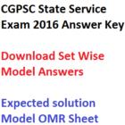CGPSC State Service Prelims Answer Key 2016 Download 19-02-2017