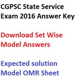 cgpsc answer key state services exam 2016 download pdf set wise a b c d aptitude general studies paper 1 2 solution model omr sheet chhattisgarh sse psc