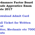 Ordnance Factory Trade Apprentice Exam Date 2017 Admit Card
