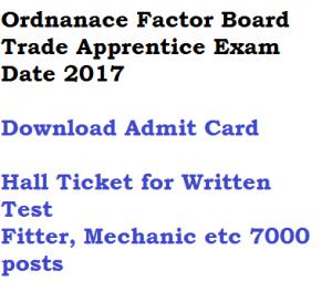 ordnanace factory board trade apprentice exam date written test admit card download 2017 ofb fitter mechanic electrician welder