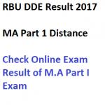 RBU Distance MA Part 1 Result DDE 2016-17 Check Online