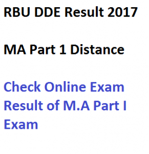 rbu distance result ma part 1 exam 2016 2017 dde rabindra bharati university