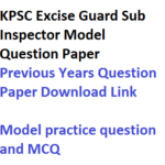 KPSC Excise Guard Sub Inspector Previous Years Question Paper PDF