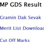 MP GDS Result Gramin Dak Sevak Merit List 2017 Madhya Pradesh Postal
