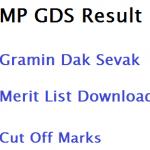 MP Post Gramin Dak Sevak Merit List Result 2017 Download Cut Off GDS