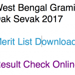 WB GDS Result Merit List Gramin Dak Sevak Postal Circle Cut Off 2017