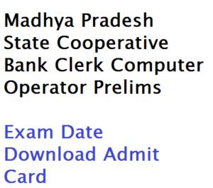 madhya pradesh mp state cooperative bank clerk computer operator preliminary exam date admit card download