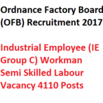 OFB Semi Skilled Labour Recruitment Group C 2017 Vacancy 4110 Posts