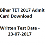 Bihar TET Admit Card 2017 Download BTET BSEBOnline Exam Date